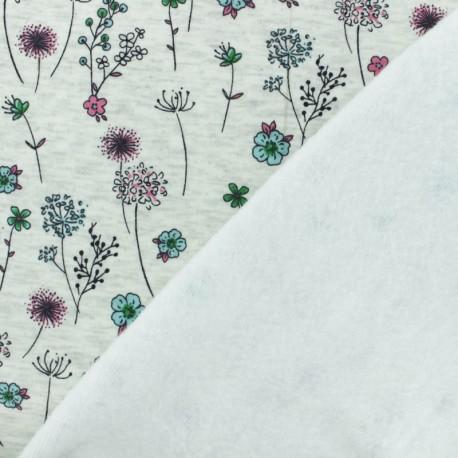 Sweatshirt fabric with minkee - Raw/green Emma's Garden x 10cm