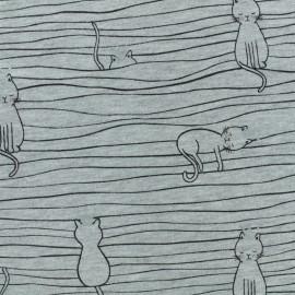 Tissu sweat léger molletonné Chat sur un fil - gris x 10cm