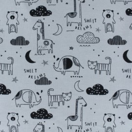 Poppy Jersey fabric - Grey Sweet dreams x 10cm