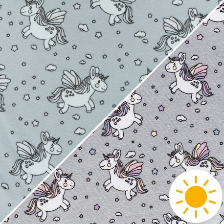 Color Changing jersey fabric - Grey Unicorn Glow