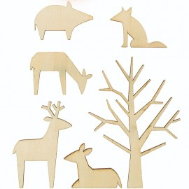 Rico Design Wooden Decoration Set - Forest Animals L