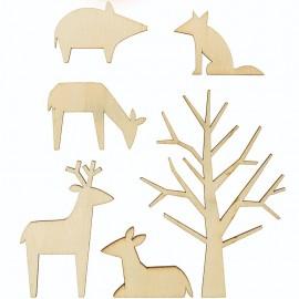 Set de Décoration Bois Rico Design - Animaux Forestiers L