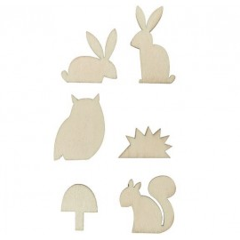 Rico Design Wooden Decoration Set - Forest Animals S/M