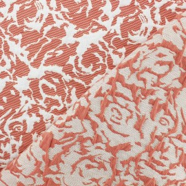 Jacquard fabric abstract roses - gold and coral x 10cm