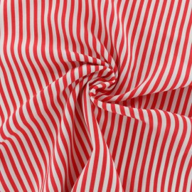 Striped Viscose fabric - red Charline x 10cm