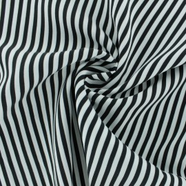 Striped Viscose fabric - black Charline x 10cm