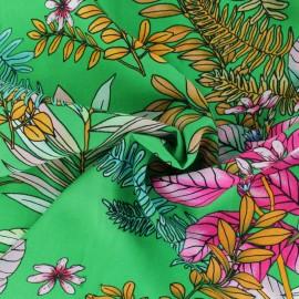 Flowery Viscose fabric - Green Veracruz x 10cm