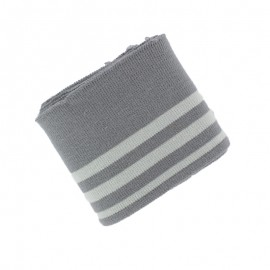 Striped Cotton Ribbed Cuffs (108x7cm) - Grey