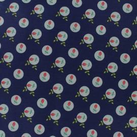 Cotton poplin fabric Poppy - navy blue Eglantine x 10cm