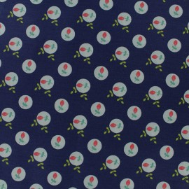 Tissu coton popeline Poppy Eglantine - bleu marine x 10cm