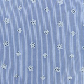 Embroidered Striped cotton fabric - light blue Noélie x 10cm