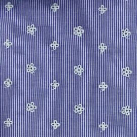 Embroidered Striped cotton fabric - dark blue Noélie x 10cm