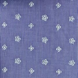 Tissu coton brodé Noélie - bleu foncé x 10cm