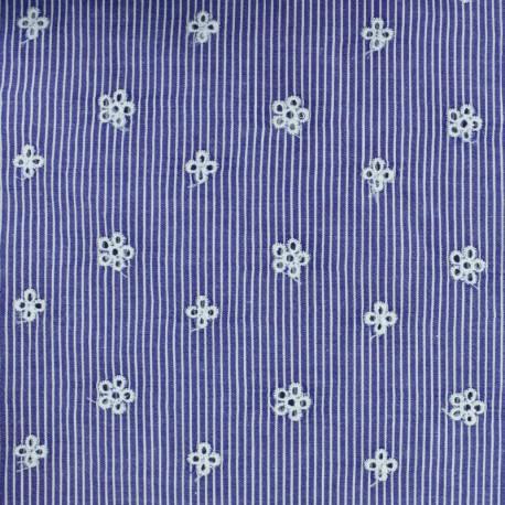 Embroidered Striped cotton fabric - dark blue Noélie x 10cm