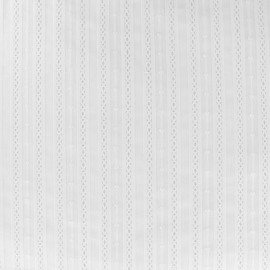 Embroidered Striped cotton voile fabric - white Alexia x 10cm