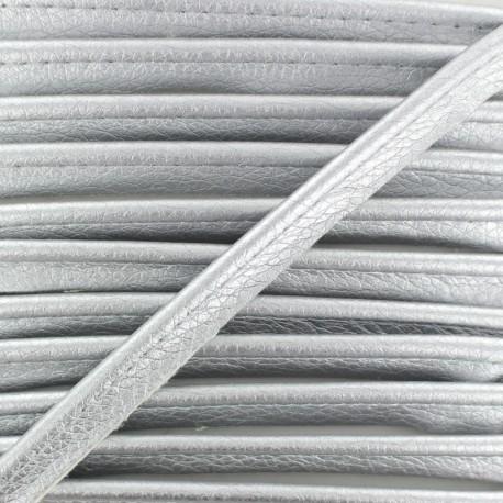 Metallic Aspect Faux Leather Piping - Silver Leka x 1m