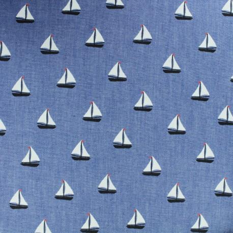 Light Chambray denim fabric - White Petit Navire x 10cm