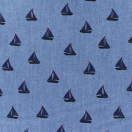Tissu Jeans fluide Chambray Petit Navire - bleu x 10cm