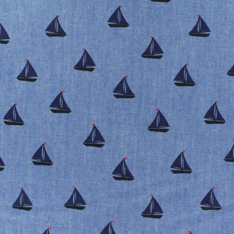 Light Chambray denim fabric - Blue Petit Navire x 10cm