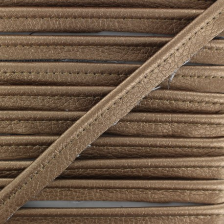 Metallic Aspect Faux Leather Piping - Bronze Leka x 1m