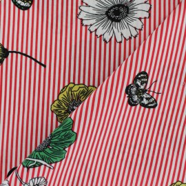 Striped Poplin fabric - Red Fleur de saison x 10cm