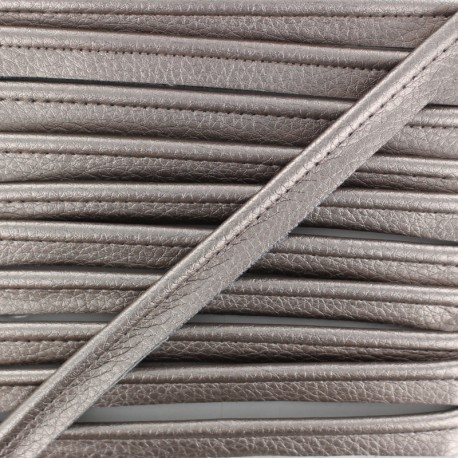 Metallic Aspect Faux Leather Piping - Titanium Leka x 1m