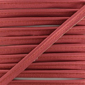 Metallic Aspect Faux Leather Piping - Ruby Red Leka x 1m