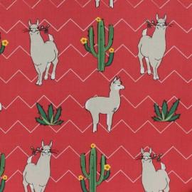 Viscose fabric - Red Llama x 10cm