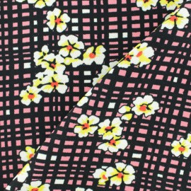 Flowery Crepe fabric - red Vivianne x 10cm