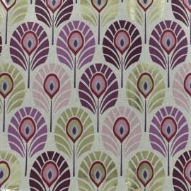Tissu polycoton Plume de paon - rose/doré x 10cm