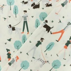 Tissu coton cretonne Balade au Parc - écru x 10cm
