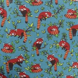 Tissu coton cretonne Panda Roux - bleu x 10cm