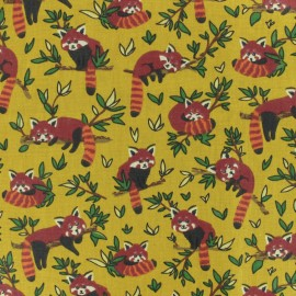 Cretonne cotton Fabric - mustard Red Panda x 10cm