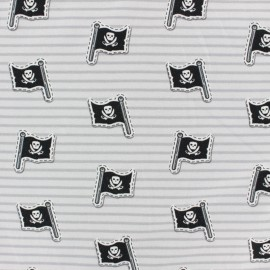 Cotton Jersey fabric - Grey Jack The Pirate Flag x 10cm