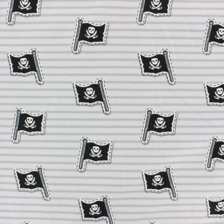 Tissu jersey Drapeau de Jack le pirate - gris x 10cm