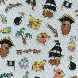 Cotton Jersey fabric - Grey Jack The Pirate x 10cm