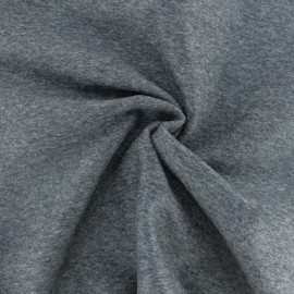 ♥ Coupon 190 cm X 150 cm ♥  Luxury Cashmere and Wool fabric - Mottled medium grey