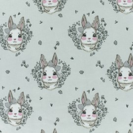 Cotton Jersey fabric - light grey Bunny x 10cm
