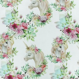 Stenzo Jersey cotton fabric - white Unicorn Dream x 10cm
