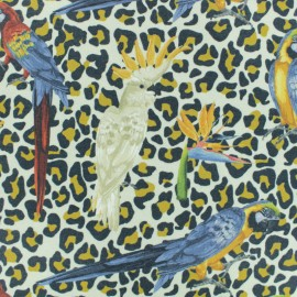 Stenzo Jersey cotton fabric - beige Parrot/leopard x 20cm