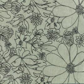 Tissu lin viscose brodé Alexandrie - beige x 20cm