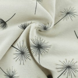 Sweatshirt fabric with minkee reverse - raw Magic Dandelion x 10cm