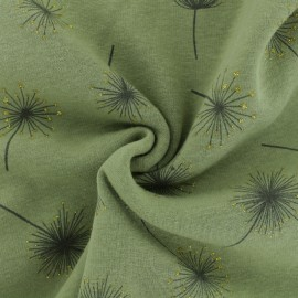 Sweatshirt fabric with minkee reverse - Khaki green Magic Dandelion x 10cm