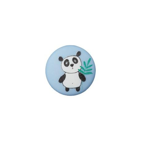 Bouton Polyester Petit Panda 12 mm - Bleu Ciel