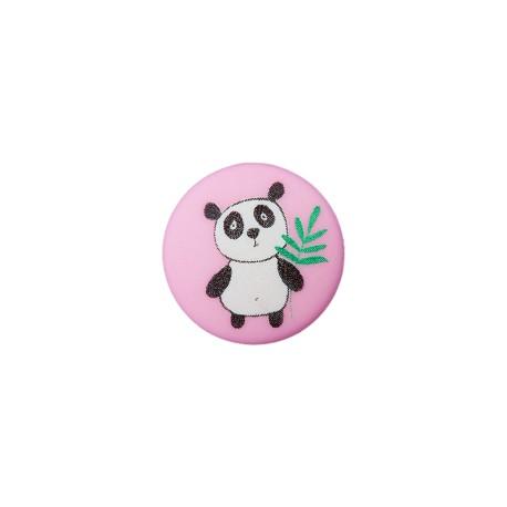 Bouton Polyester Petit Panda 12 mm - Rose