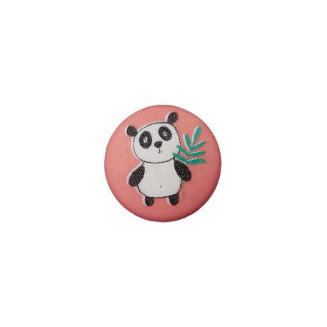 Bouton Polyester Petit Panda 12 mm - Brique