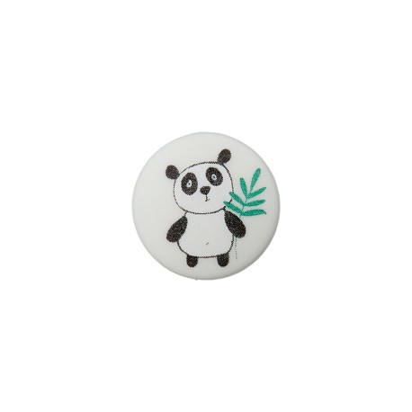 12 mm Polyester Button - Light Grey Little Panda