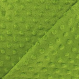 Dotted Minkee velvet fabric - Kiwi green x 10cm