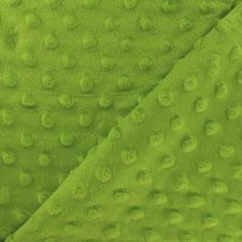 Tissu Velours minkee doux relief à pois - vert kiwi x 10cm