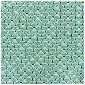 Coated cretonne cotton fabric - turquoise Eventail x 10cm